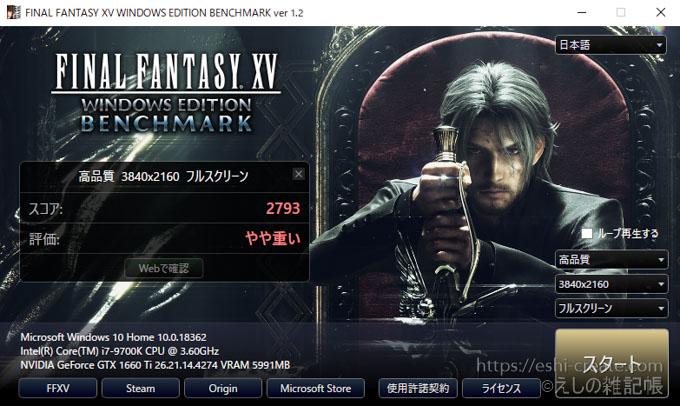 自作PC20万_ベンチマーク_final_fantasy_xv_3840_2160_4K
